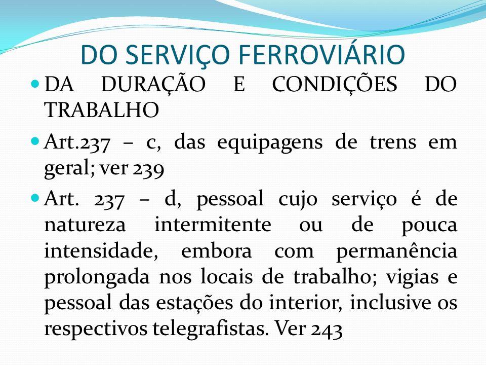 DO SERVIÇO FERROVIÁRIO DA DURAÇÃO E CONDIÇÕES DO TRABALHO Art.237 – c, das equipagens de trens em geral; ver 239 Art.