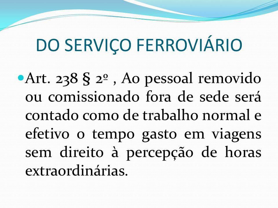 DO SERVIÇO FERROVIÁRIO Art.