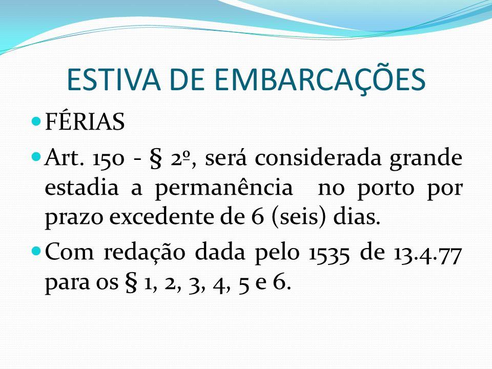 ESTIVA DE EMBARCAÇÕES FÉRIAS Art.