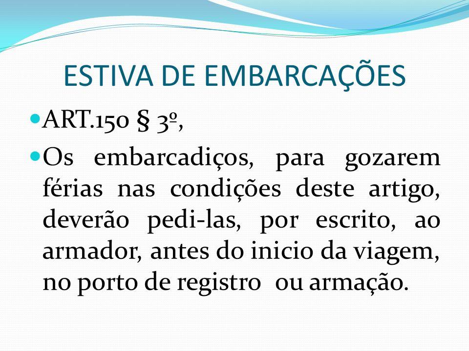 ESTIVA DE EMBARCAÇÕES ART.150 § 3º, Os embarcadiços, para gozarem férias nas condições deste artigo, deverão pedi-las, por escrito, ao armador, antes do inicio da viagem, no porto de registro ou armação.