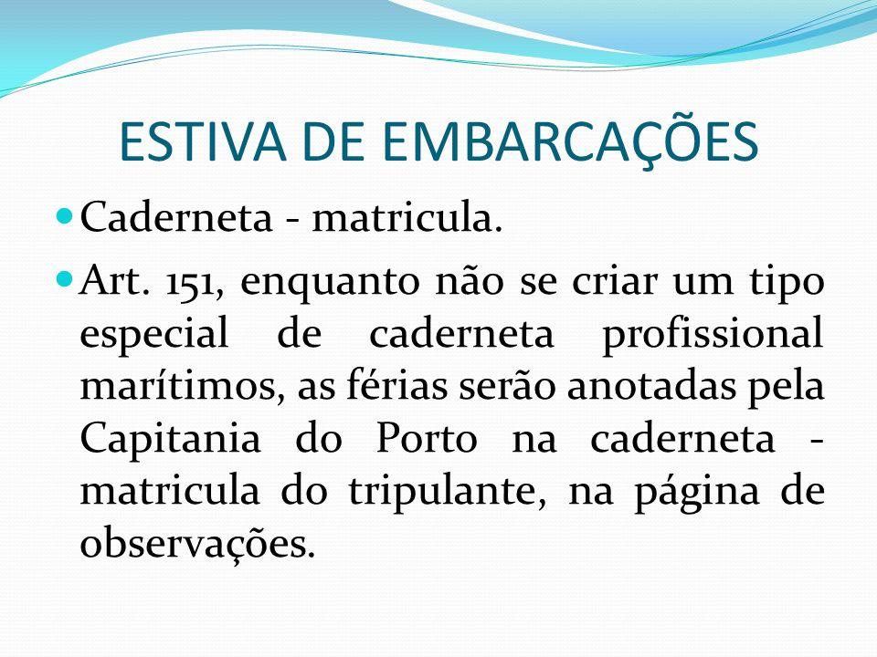 ESTIVA DE EMBARCAÇÕES Caderneta - matricula. Art.