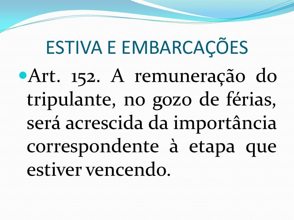 ESTIVA E EMBARCAÇÕES Art. 152.