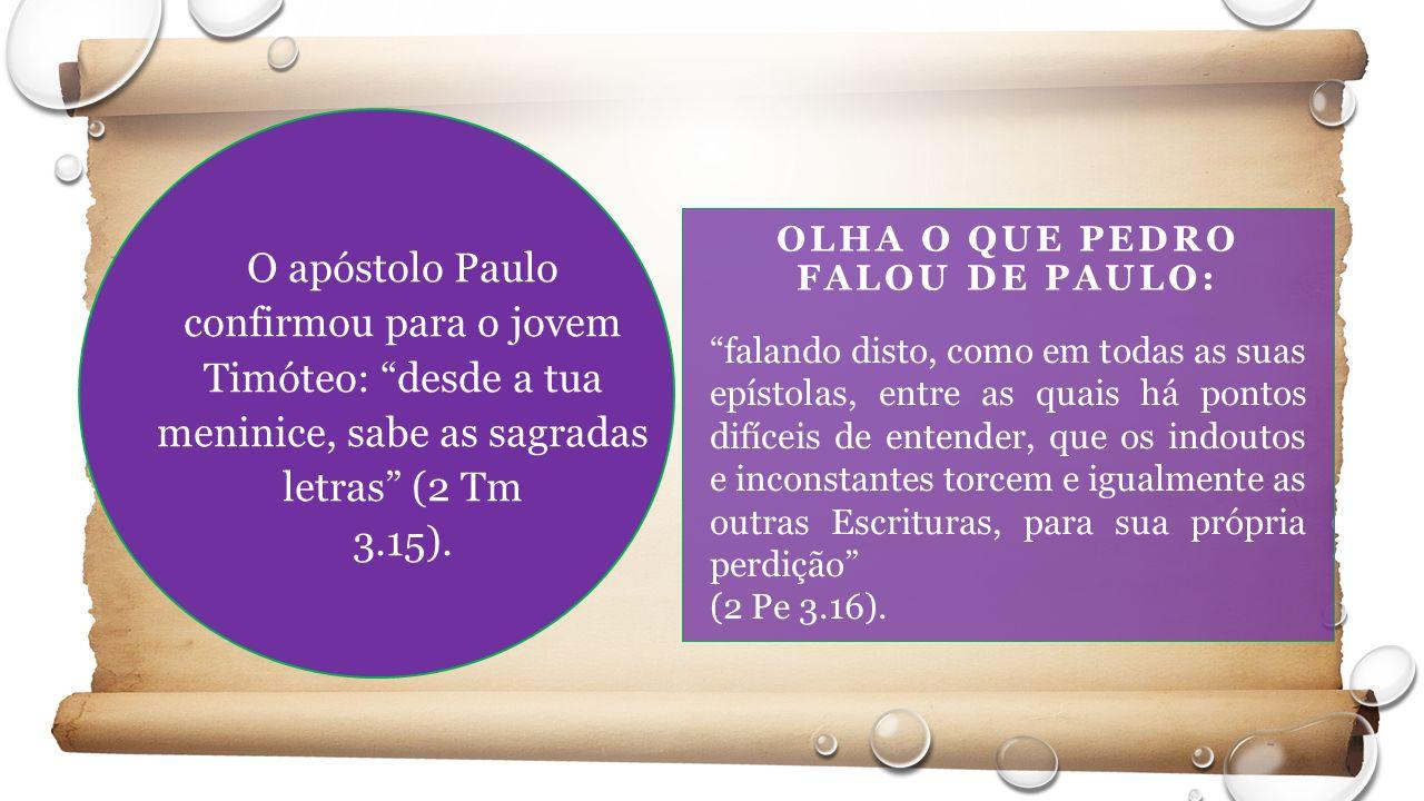 OLHA O QUE PEDRO FALOU DE PAULO: O apóstolo Paulo confirmou para o jovem Timóteo: desde a tua meninice, sabe as sagradas letras (2 Tm 3.15).