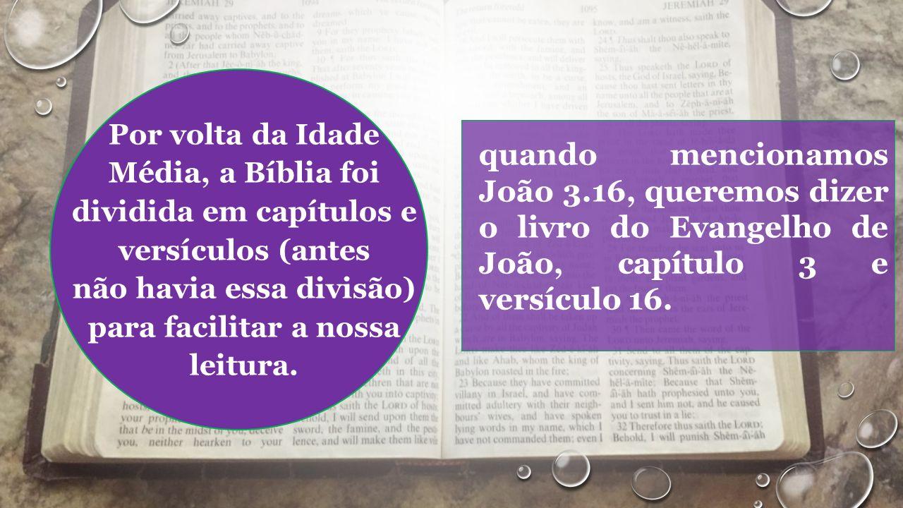 Por volta da Idade Média, a Bíblia foi dividida em capítulos e versículos (antes não havia essa divisão) para facilitar a nossa leitura.