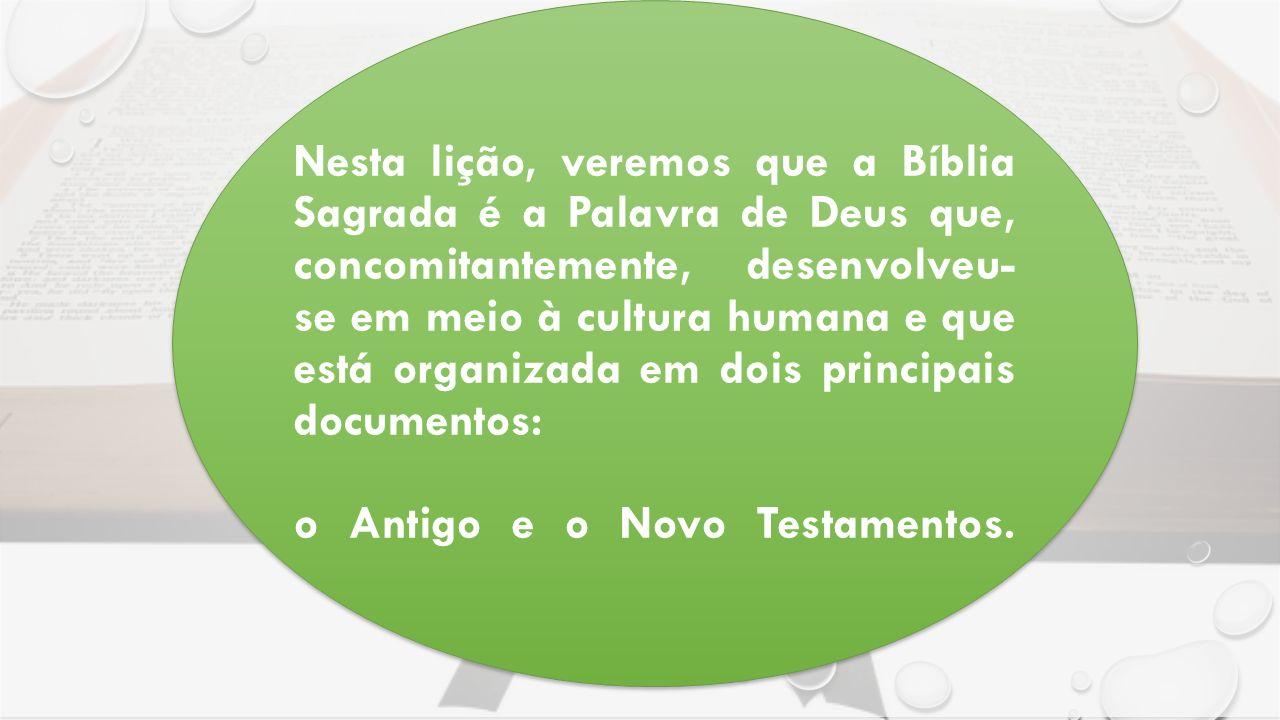 Nesta lição, veremos que a Bíblia Sagrada é a Palavra de Deus que, concomitantemente, desenvolveu- se em meio à cultura humana e que está organizada em dois principais documentos: o Antigo e o Novo Testamentos.