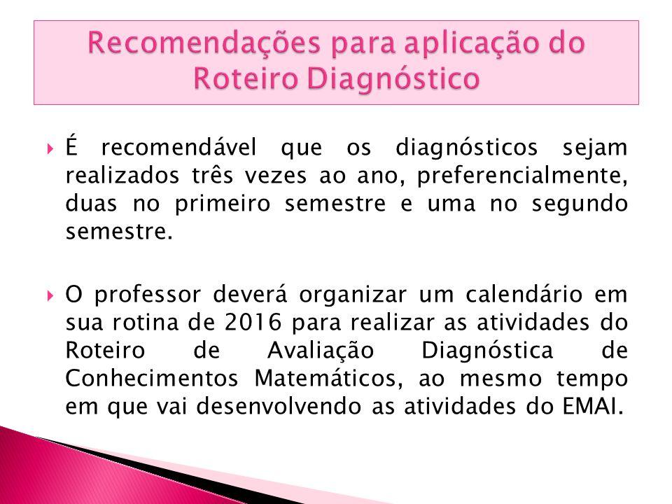  É recomendável que os diagnósticos sejam realizados três vezes ao ano, preferencialmente, duas no primeiro semestre e uma no segundo semestre.