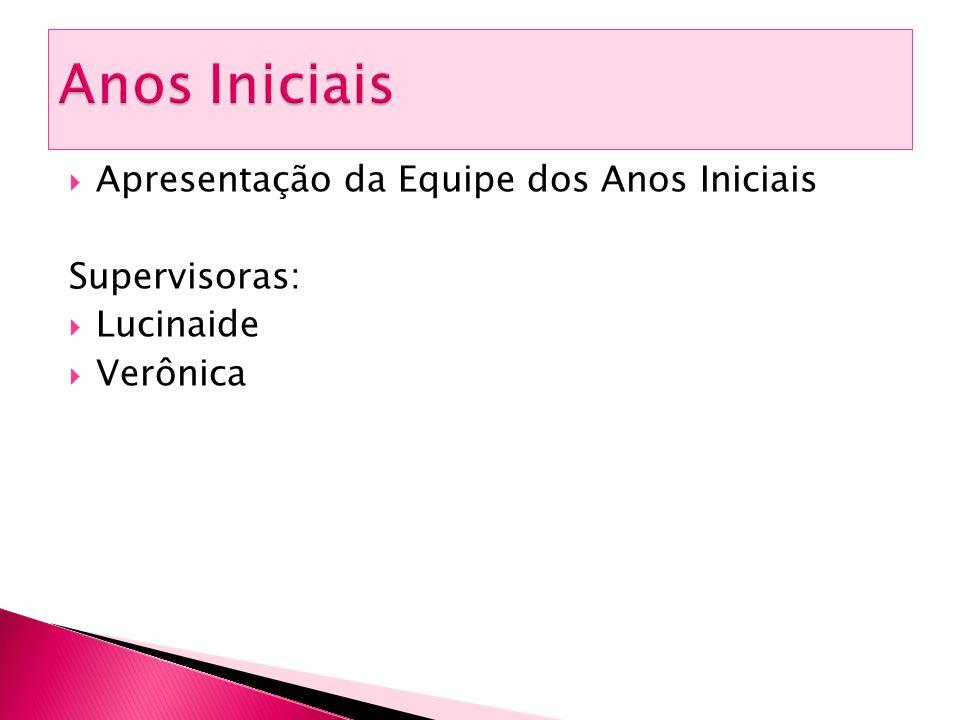  Apresentação da Equipe dos Anos Iniciais Supervisoras:  Lucinaide  Verônica