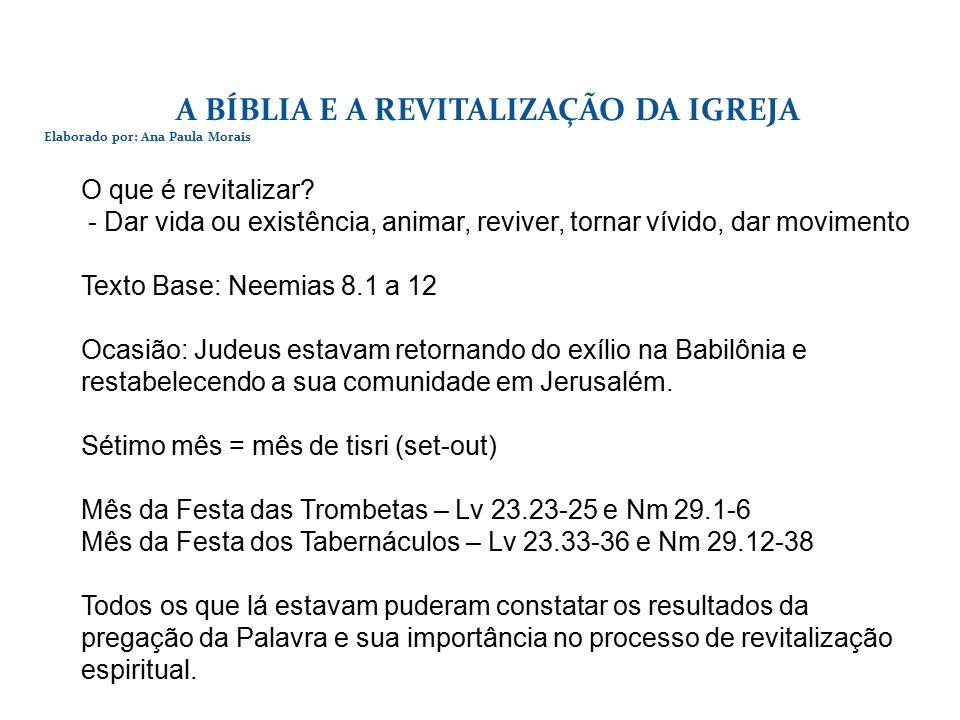 A BÍBLIA E A REVITALIZAÇÃO DA IGREJA Elaborado por: Ana Paula Morais O que é revitalizar.