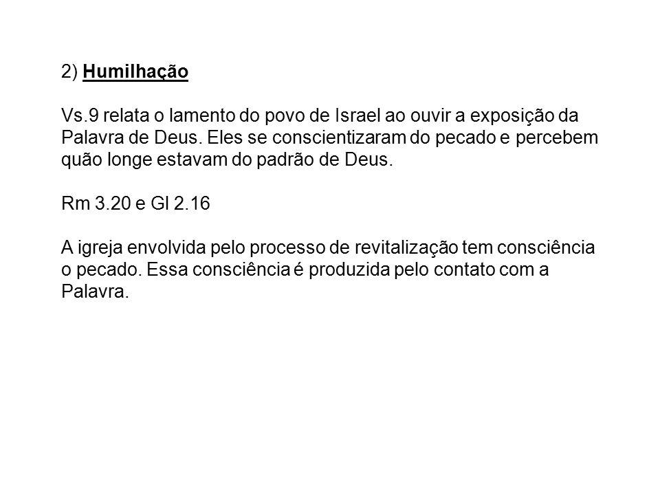 2) Humilhação Vs.9 relata o lamento do povo de Israel ao ouvir a exposição da Palavra de Deus.