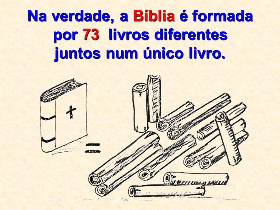 Na verdade, a Bíblia é formada por 73 livros d dd diferentes juntos num único livro.