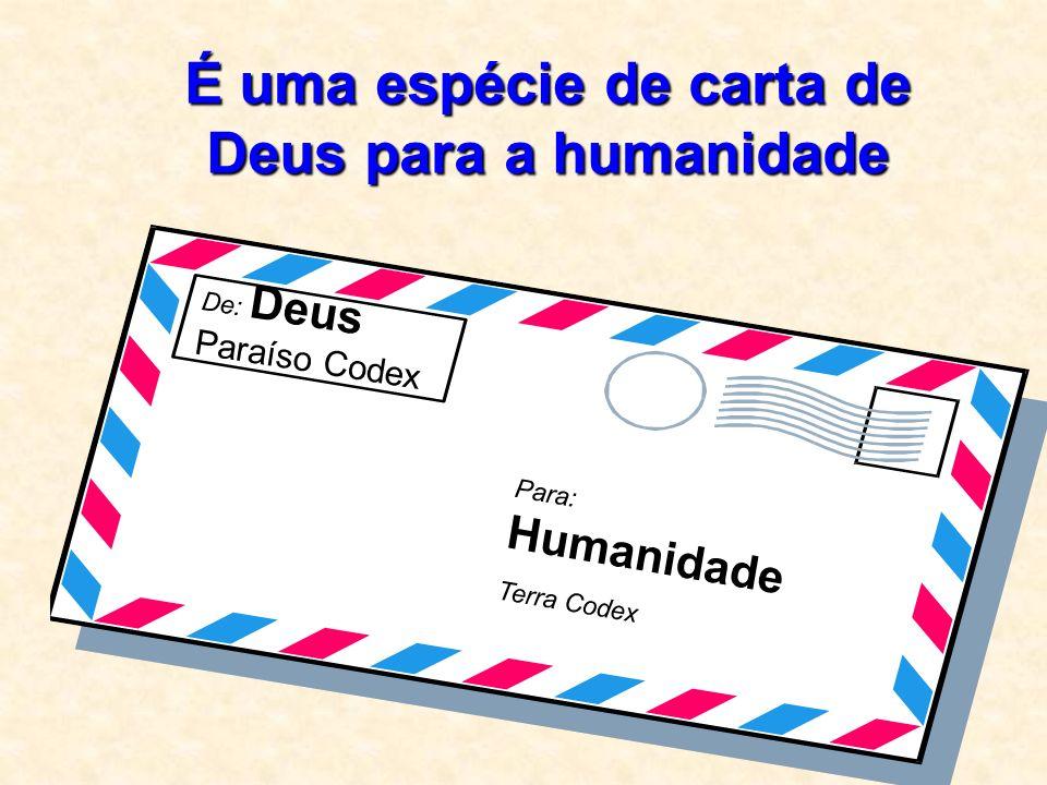 É uma espécie de carta de Deus para a humanidade De: Deus Paraíso Codex Para: Humanidade Terra Codex