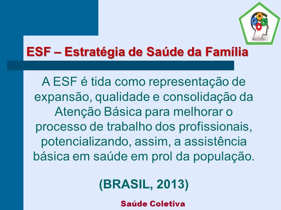 ESF – Estratégia de Saúde da Família A ESF é tida como representação de expansão, qualidade e consolidação da Atenção Básica para melhorar o processo de trabalho dos profissionais, potencializando, assim, a assistência básica em saúde em prol da população.