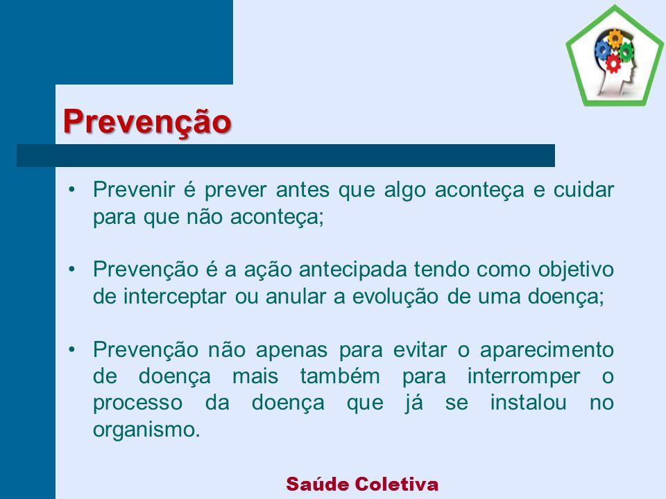 Níveis de Prevenção Prevenção Primária: são ações dirigidas para a manutenção da saúde.