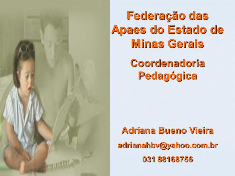 Federação das Apaes do Estado de Minas Gerais Coordenadoria Pedagógica Adriana Bueno Vieira adrianahbv@yahoo.com.br 031 88168756