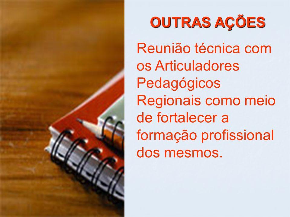 OUTRAS AÇÕES Reunião técnica com os Articuladores Pedagógicos Regionais como meio de fortalecer a formação profissional dos mesmos.