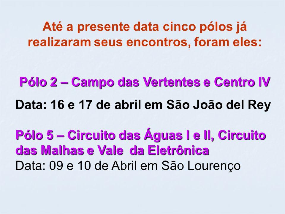 Até a presente data cinco pólos já realizaram seus encontros, foram eles: Pólo 2 – Campo das Vertentes e Centro IV Data: 16 e 17 de abril em São João del Rey Pólo 5 – Circuito das Águas I e II, Circuito das Malhas e Vale da Eletrônica Data: 09 e 10 de Abril em São Lourenço
