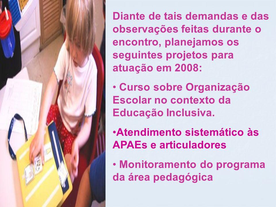 Diante de tais demandas e das observações feitas durante o encontro, planejamos os seguintes projetos para atuação em 2008: Curso sobre Organização Escolar no contexto da Educação Inclusiva.