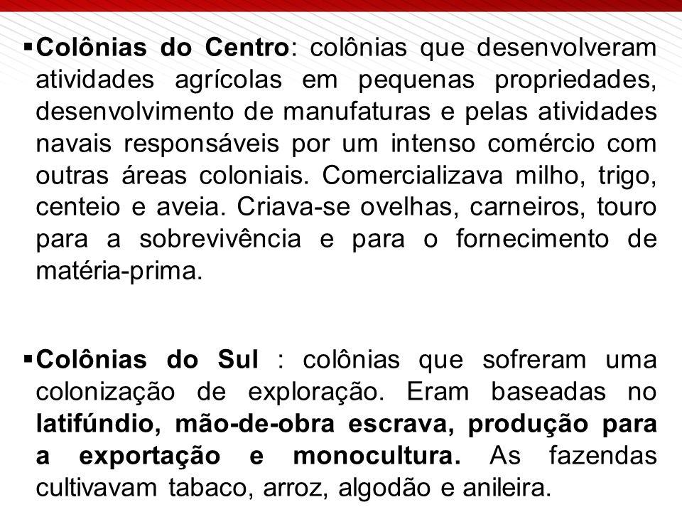  Colônias do Centro: colônias que desenvolveram atividades agrícolas em pequenas propriedades, desenvolvimento de manufaturas e pelas atividades navais responsáveis por um intenso comércio com outras áreas coloniais.