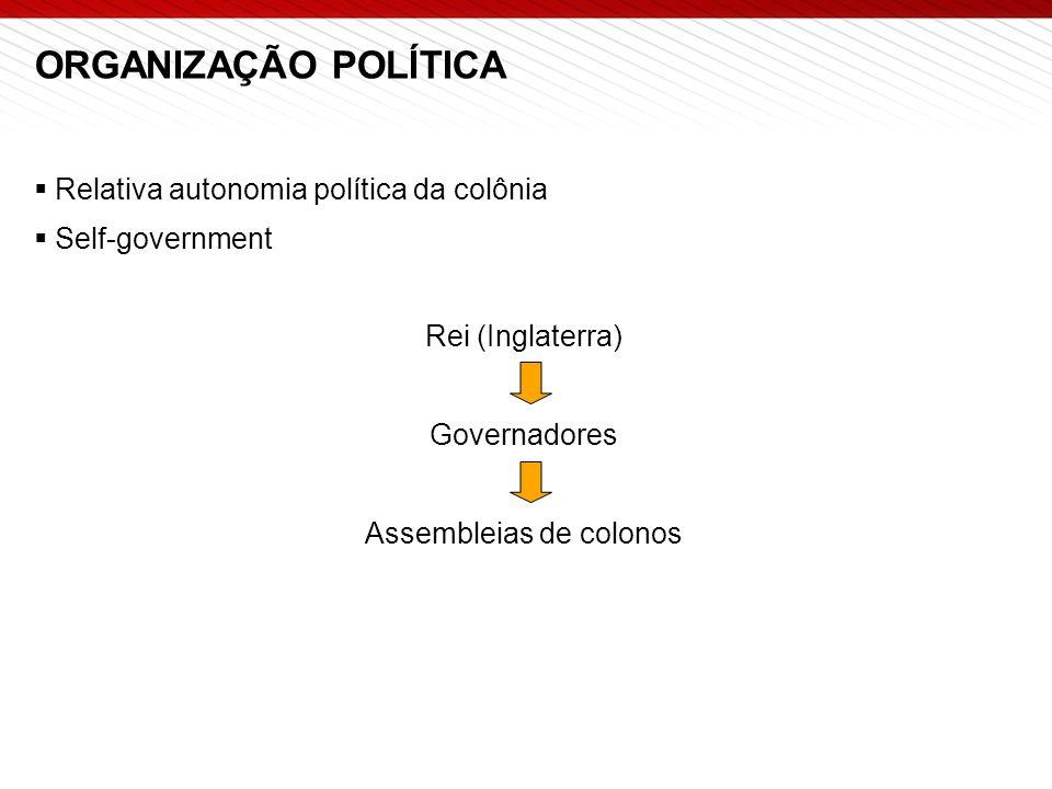 ORGANIZAÇÃO POLÍTICA  Relativa autonomia política da colônia  Self-government Rei (Inglaterra) Governadores Assembleias de colonos