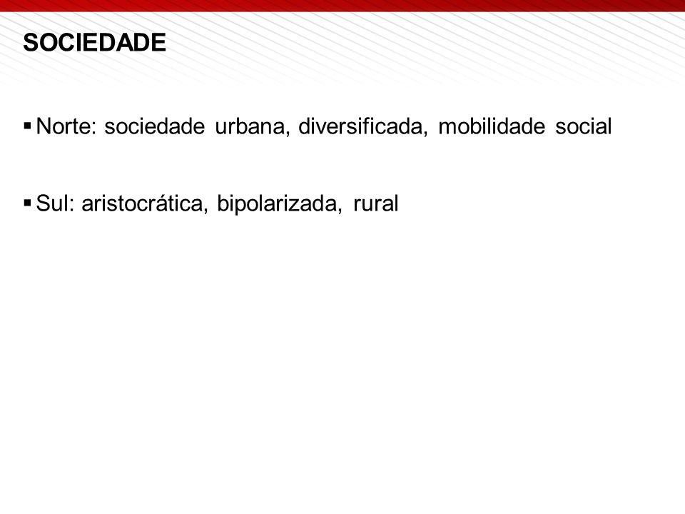 SOCIEDADE  Norte: sociedade urbana, diversificada, mobilidade social  Sul: aristocrática, bipolarizada, rural
