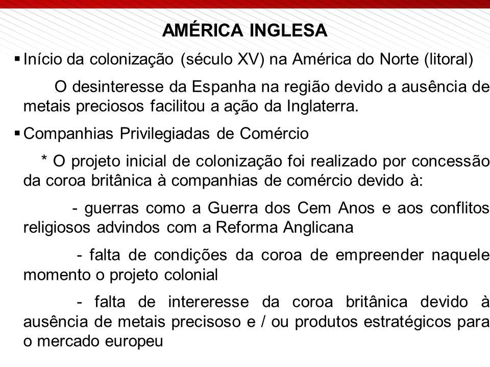 AMÉRICA INGLESA  Início da colonização (século XV) na América do Norte (litoral) O desinteresse da Espanha na região devido a ausência de metais preciosos facilitou a ação da Inglaterra.