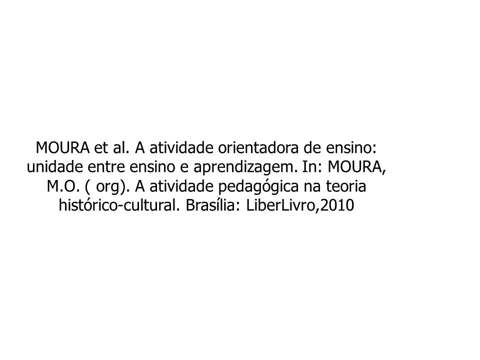 MOURA et al. A atividade orientadora de ensino: unidade entre ensino e aprendizagem. In: MOURA, M.O. ( org). A atividade pedagógica na teoria históric