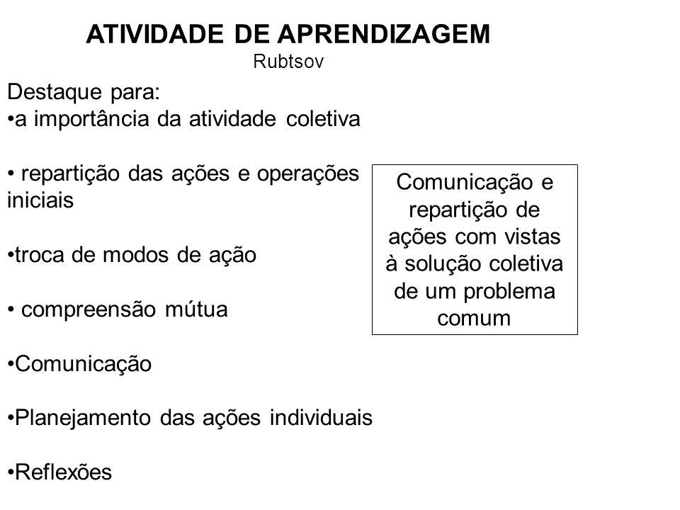 ATIVIDADE DE APRENDIZAGEM Rubtsov Destaque para: a importância da atividade coletiva repartição das ações e operações iniciais troca de modos de ação