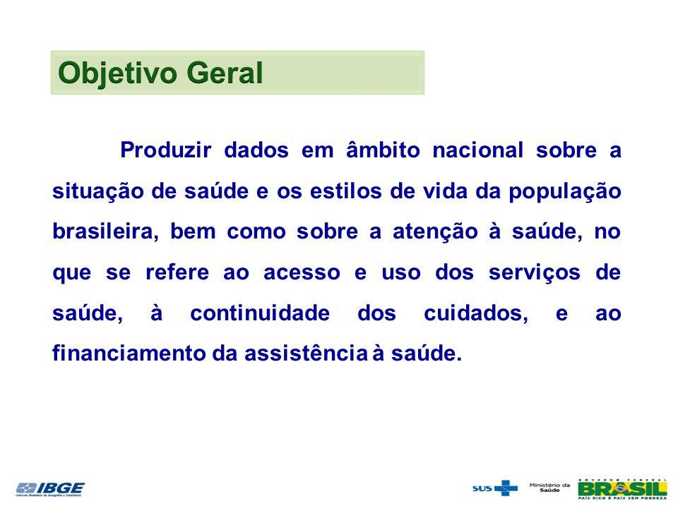 Produzir dados em âmbito nacional sobre a situação de saúde e os estilos de vida da população brasileira, bem como sobre a atenção à saúde, no que se refere ao acesso e uso dos serviços de saúde, à continuidade dos cuidados, e ao financiamento da assistência à saúde.