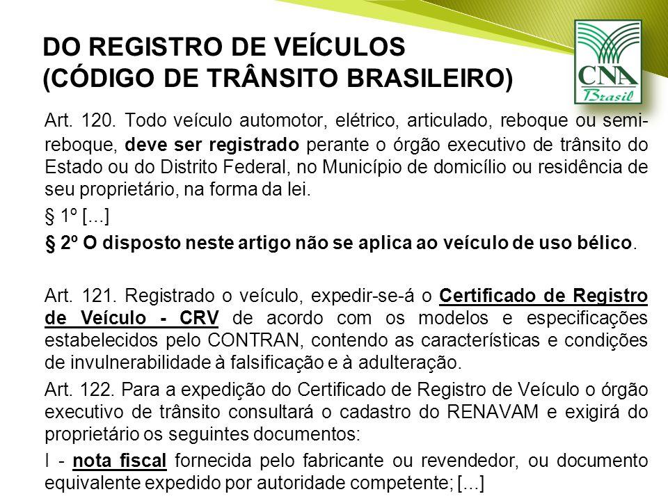 DO REGISTRO DE VEÍCULOS (CÓDIGO DE TRÂNSITO BRASILEIRO) Art.