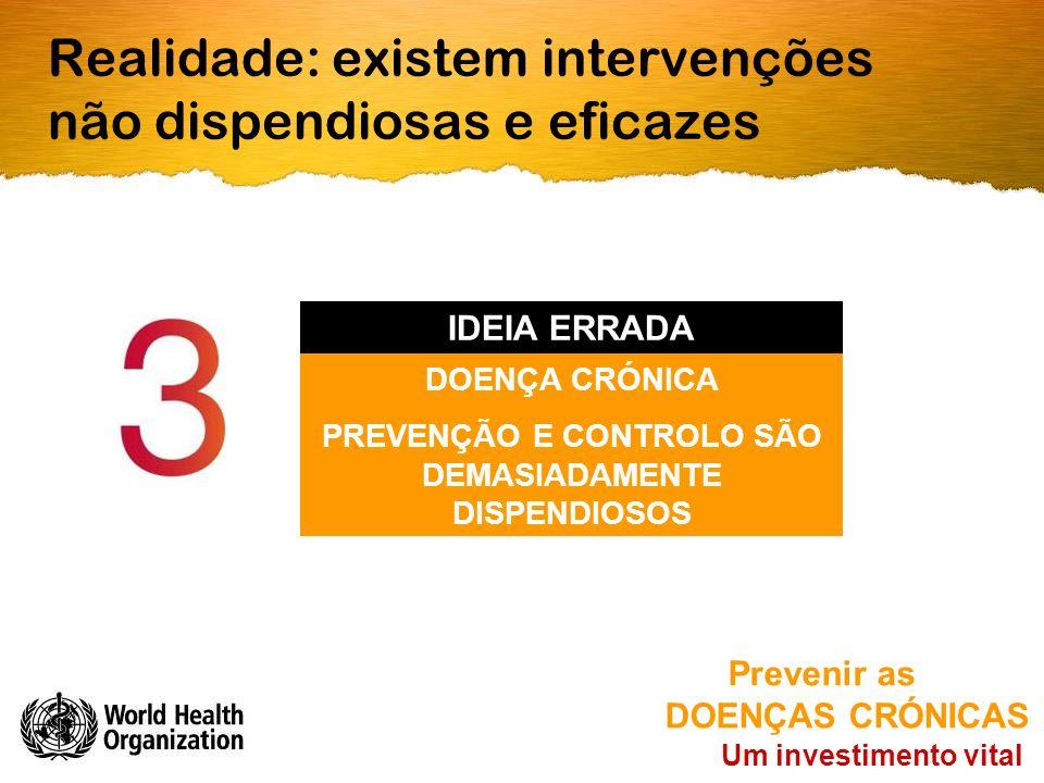 Realidade: existem intervenções não dispendiosas e eficazes Um investimento vital Prevenir as DOENÇAS CRÓNICAS DOENÇA CRÓNICA PREVENÇÃO E CONTROLO SÃO