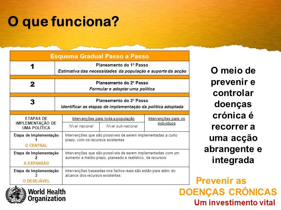 O que funciona? O meio de prevenir e controlar doenças crónica é recorrer a uma acção abrangente e integrada Um investimento vital Prevenir as DOENÇAS