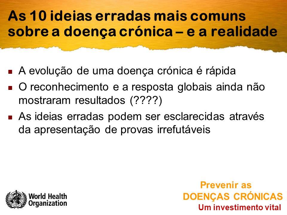 As 10 ideias erradas mais comuns sobre a doença crónica – e a realidade A evolução de uma doença crónica é rápida O reconhecimento e a resposta globai