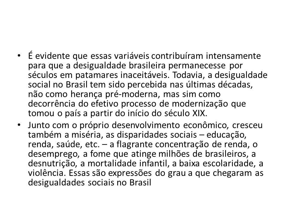 É evidente que essas variáveis contribuíram intensamente para que a desigualdade brasileira permanecesse por séculos em patamares inaceitáveis.