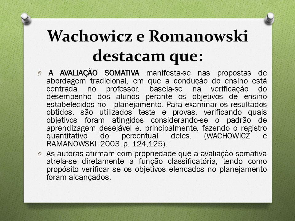 Wachowicz e Romanowski destacam que: O A AVALIAÇÃO SOMATIVA manifesta-se nas propostas de abordagem tradicional, em que a condução do ensino está centrada no professor, baseia-se na verificação do desempenho dos alunos perante os objetivos de ensino estabelecidos no planejamento.