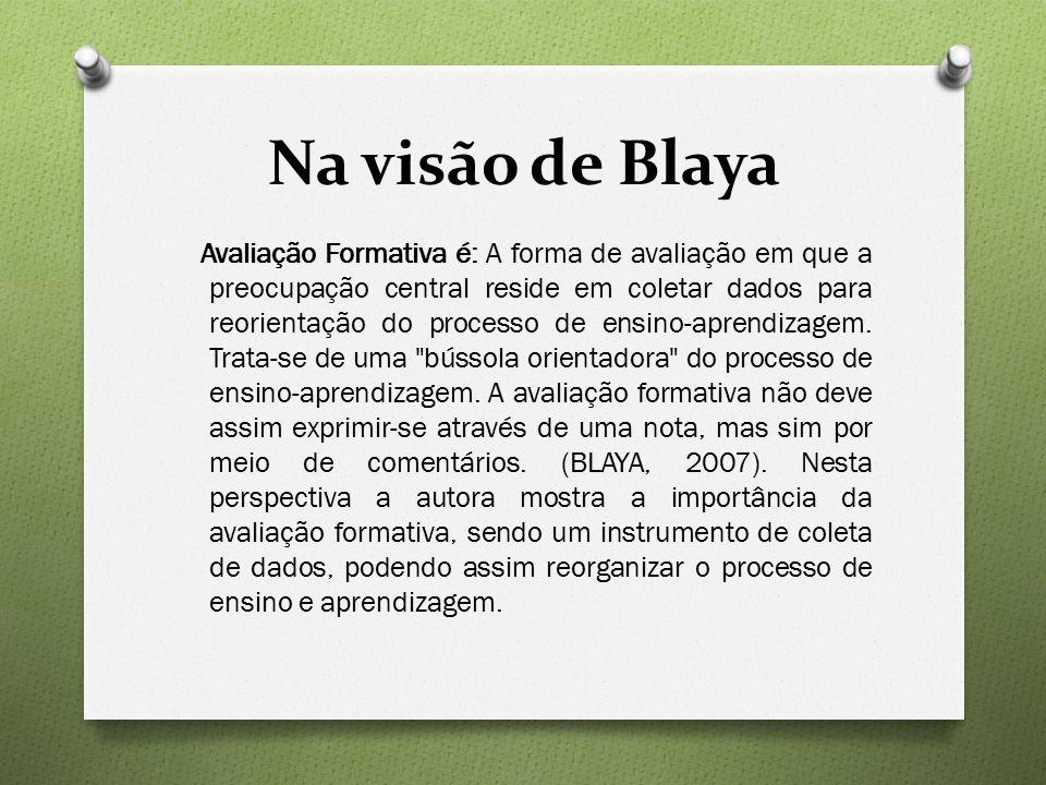 Na visão de Blaya Avaliação Formativa é: A forma de avaliação em que a preocupação central reside em coletar dados para reorientação do processo de ensino-aprendizagem.