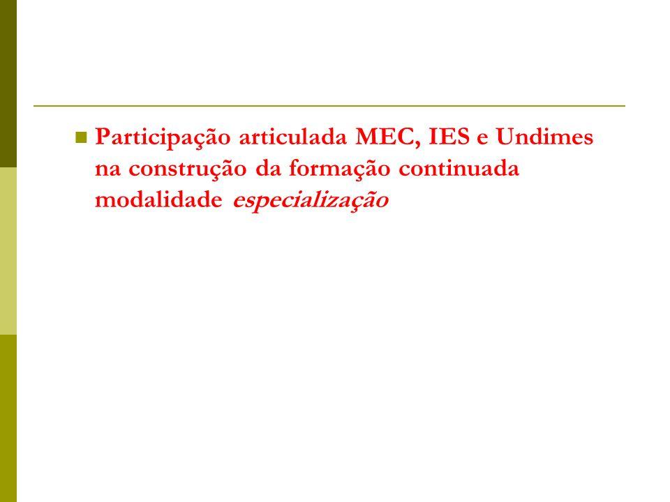 Participação articulada MEC, IES e Undimes na construção da formação continuada modalidade especialização
