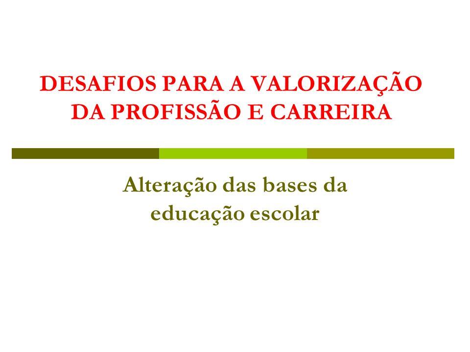 DESAFIOS PARA A VALORIZAÇÃO DA PROFISSÃO E CARREIRA Alteração das bases da educação escolar