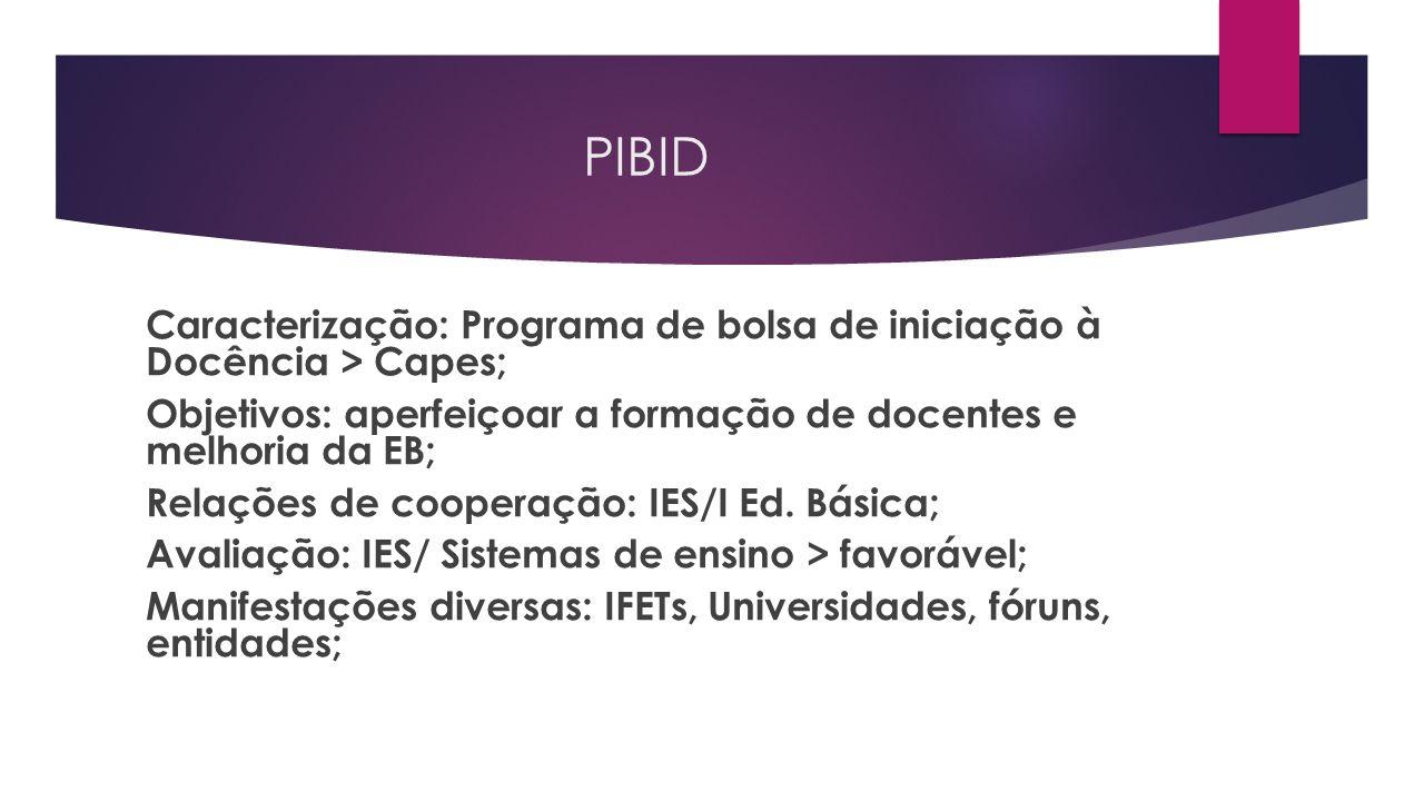 PIBID Caracterização: Programa de bolsa de iniciação à Docência > Capes; Objetivos: aperfeiçoar a formação de docentes e melhoria da EB; Relações de cooperação: IES/I Ed.