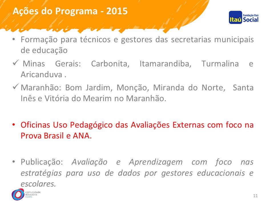 Ações do Programa - 2015 11 Formação para técnicos e gestores das secretarias municipais de educação Minas Gerais: Carbonita, Itamarandiba, Turmalina e Aricanduva.