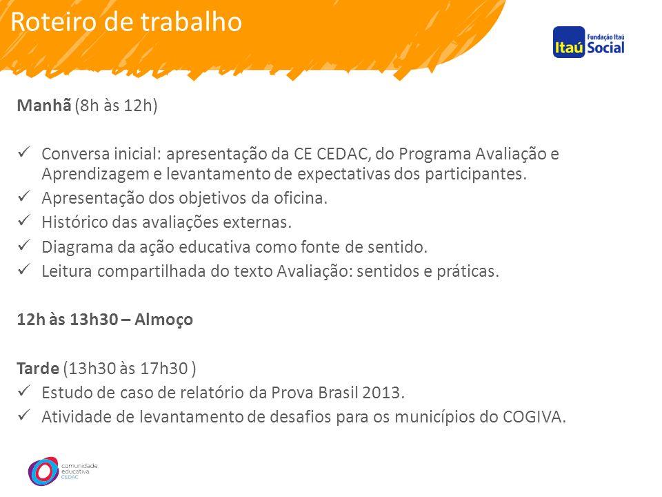 Roteiro de trabalho Manhã (8h às 12h) Conversa inicial: apresentação da CE CEDAC, do Programa Avaliação e Aprendizagem e levantamento de expectativas dos participantes.