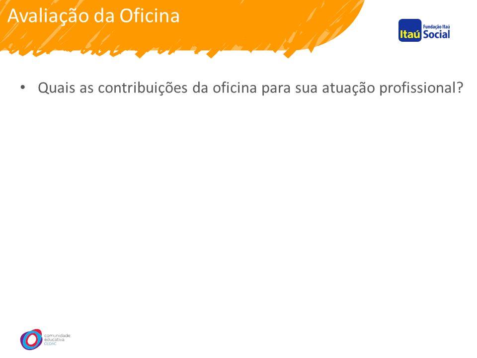 Avaliação da Oficina Quais as contribuições da oficina para sua atuação profissional
