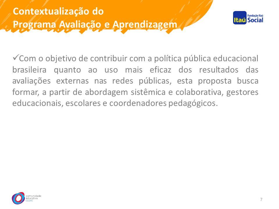 Contextualização do Programa Avaliação e Aprendizagem 7 Com o objetivo de contribuir com a política pública educacional brasileira quanto ao uso mais eficaz dos resultados das avaliações externas nas redes públicas, esta proposta busca formar, a partir de abordagem sistêmica e colaborativa, gestores educacionais, escolares e coordenadores pedagógicos.