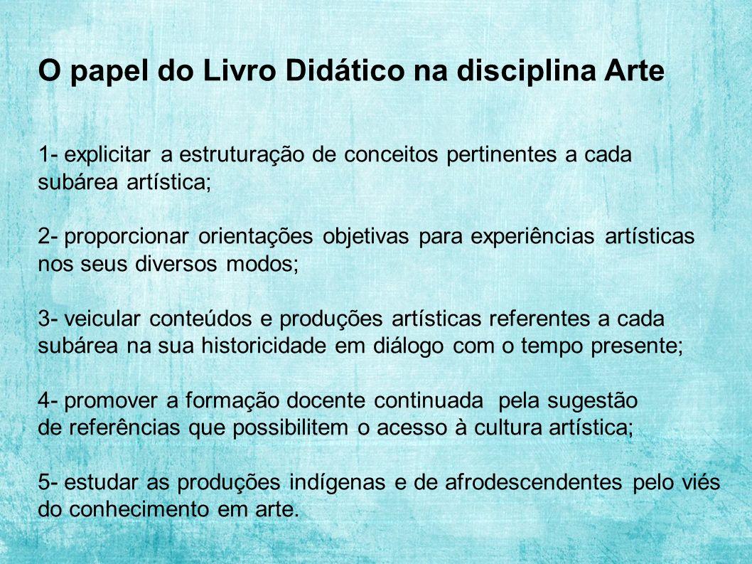 O papel do Livro Didático na disciplina Arte 1- explicitar a estruturação de conceitos pertinentes a cada subárea artística; 2- proporcionar orientaçõ