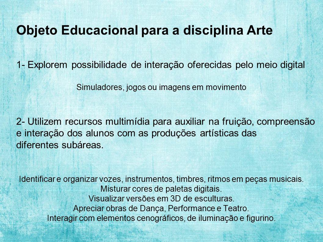 Objeto Educacional para a disciplina Arte 1- Explorem possibilidade de interação oferecidas pelo meio digital Simuladores, jogos ou imagens em movimen