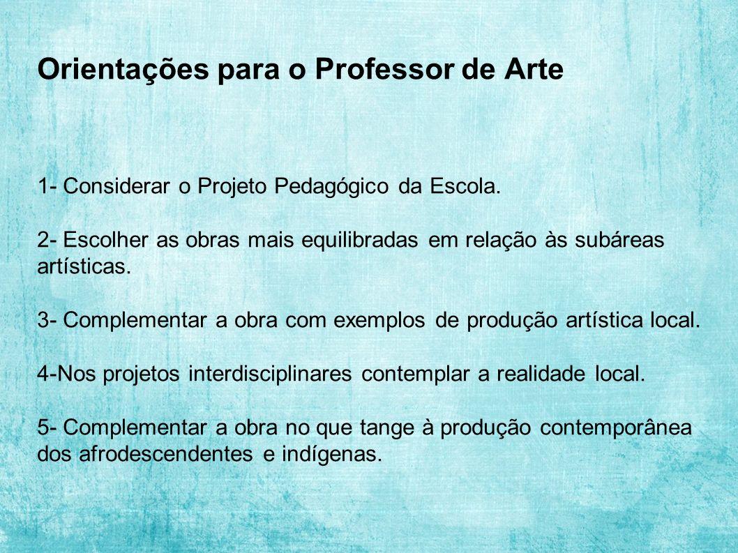 Orientações para o Professor de Arte 1- Considerar o Projeto Pedagógico da Escola. 2- Escolher as obras mais equilibradas em relação às subáreas artís