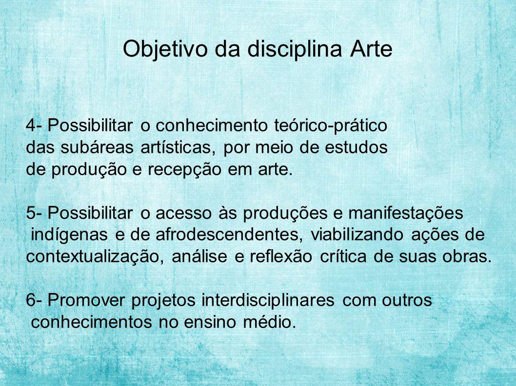 Objetivo da disciplina Arte 4- Possibilitar o conhecimento teórico-prático das subáreas artísticas, por meio de estudos de produção e recepção em arte.