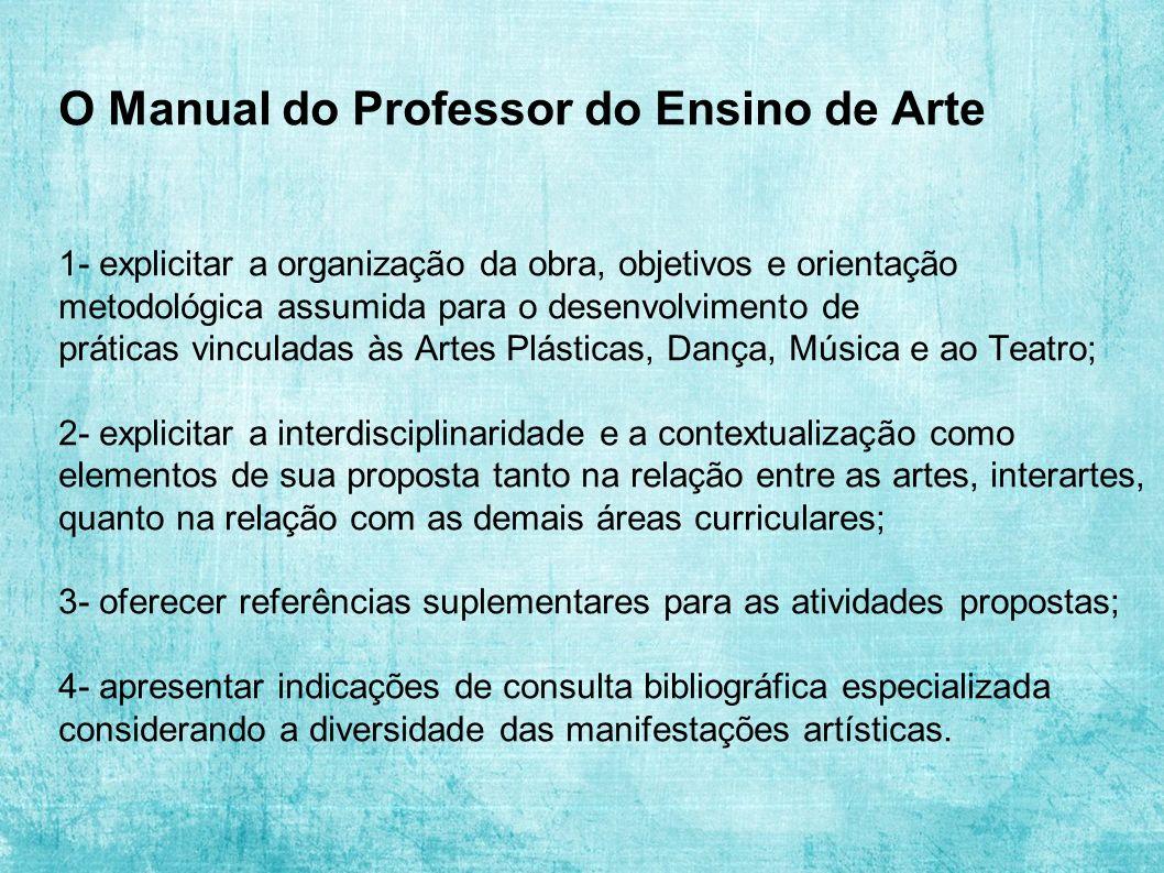 O Manual do Professor do Ensino de Arte 1- explicitar a organização da obra, objetivos e orientação metodológica assumida para o desenvolvimento de pr