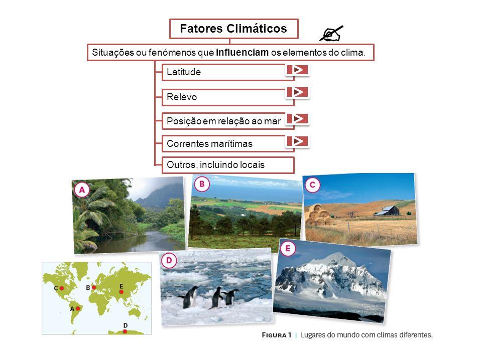 Fatores Climáticos Situações ou fenómenos que influenciam os elementos do clima.