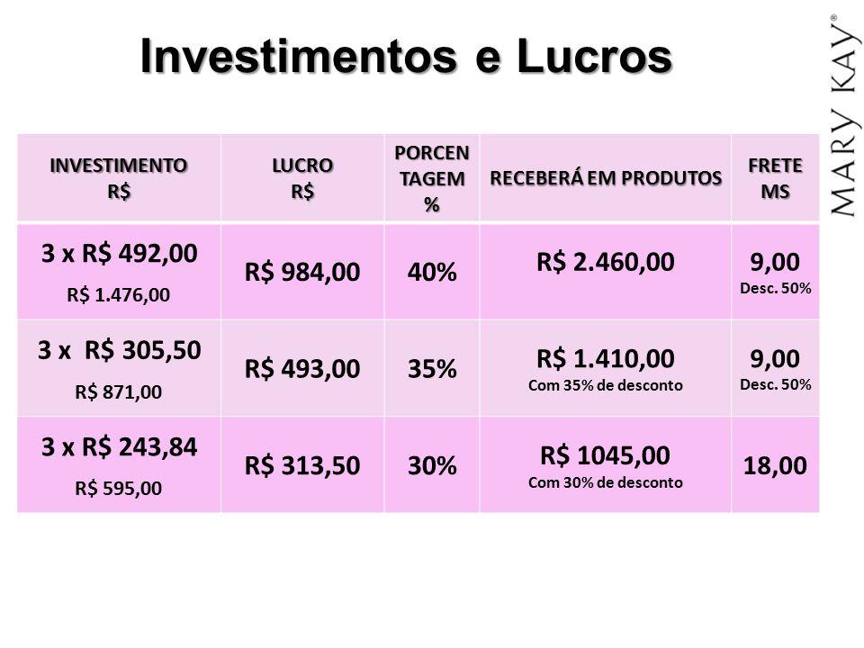 Investimentos e Lucros INVESTIMENTOR$LUCROR$PORCENTAGEM% RECEBERÁ EM PRODUTOS FRETE MS 3 x R$ 492,00 R$ 1.476,00 R$ 984,0040% R$ 2.460,00 9,00 Desc. 5
