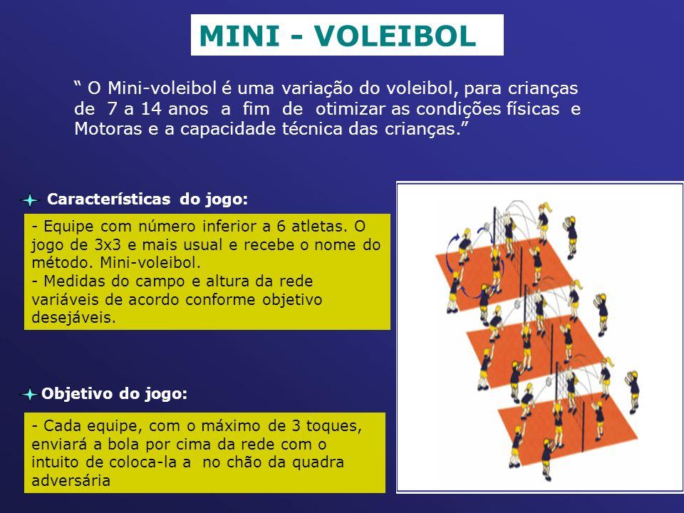 seqüência do trabalho MINI - VOLEIBOL O Mini-voleibol é uma variação do voleibol, para crianças de 7 a 14 anos a fim de otimizar as condições físicas e Motoras e a capacidade técnica das crianças. Características do jogo: - Equipe com número inferior a 6 atletas.